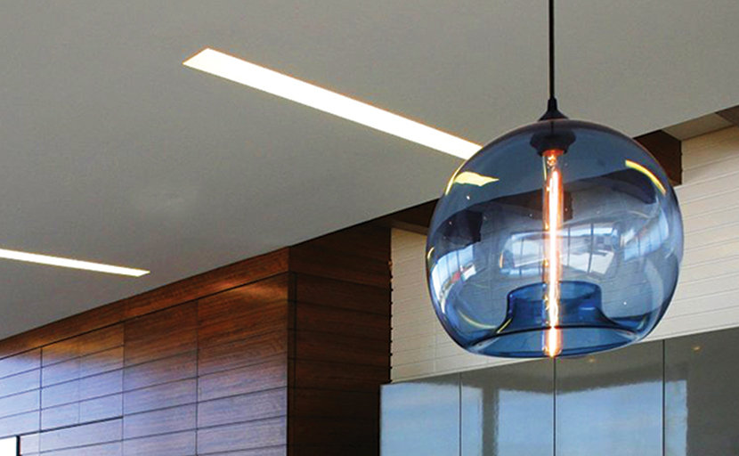 blue glass modern pendant light