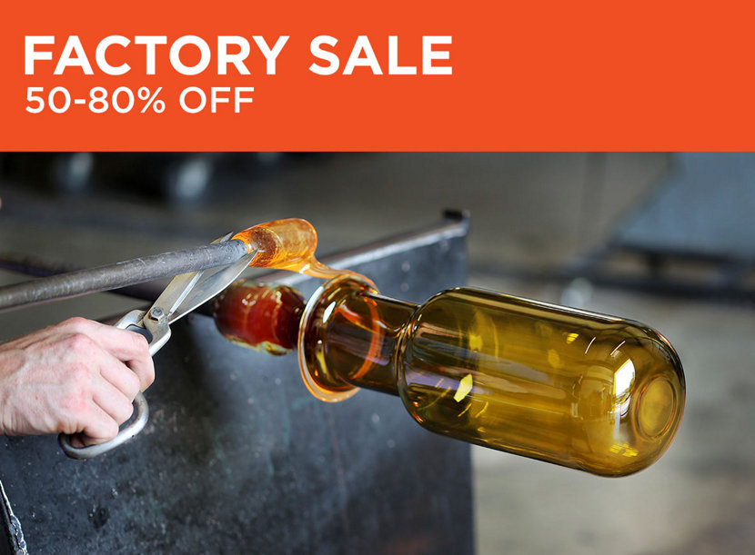 Glass blowing demonstrations at Niche's factory sale