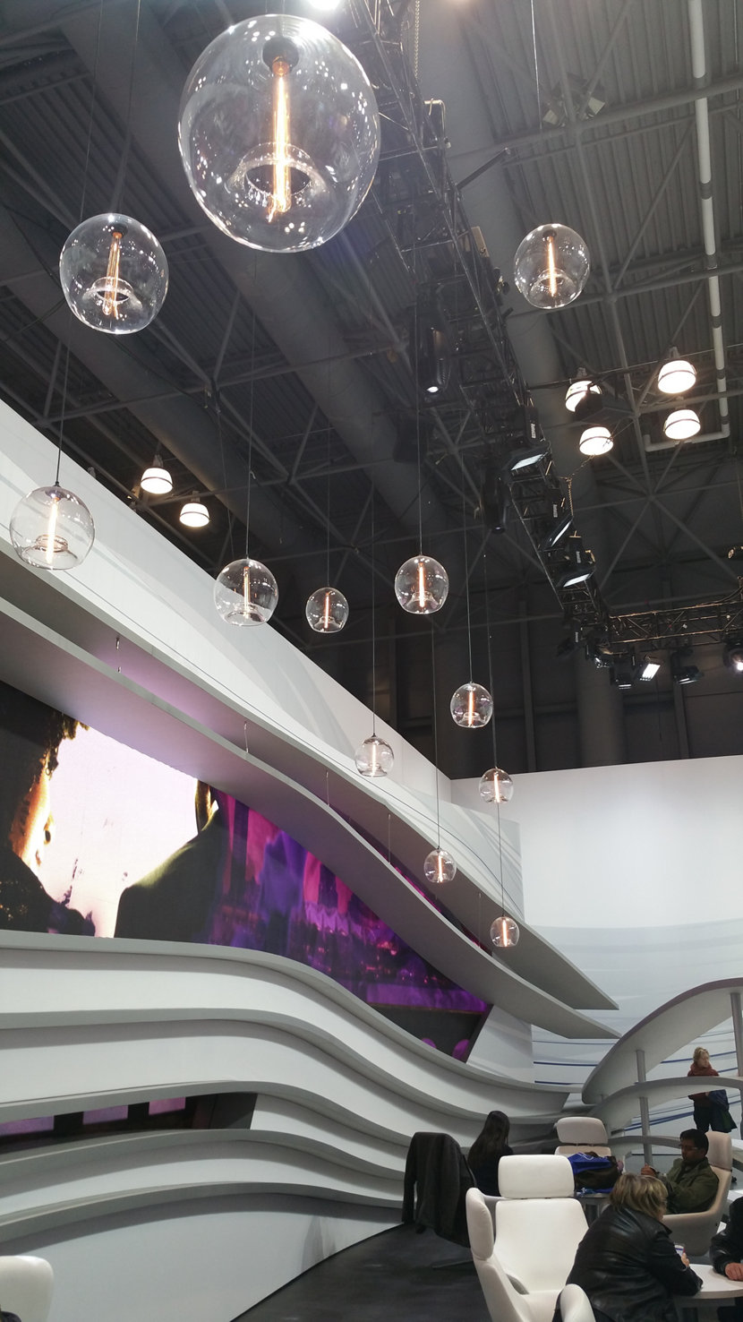 Clear glass pendant lighting at the International Auto Show