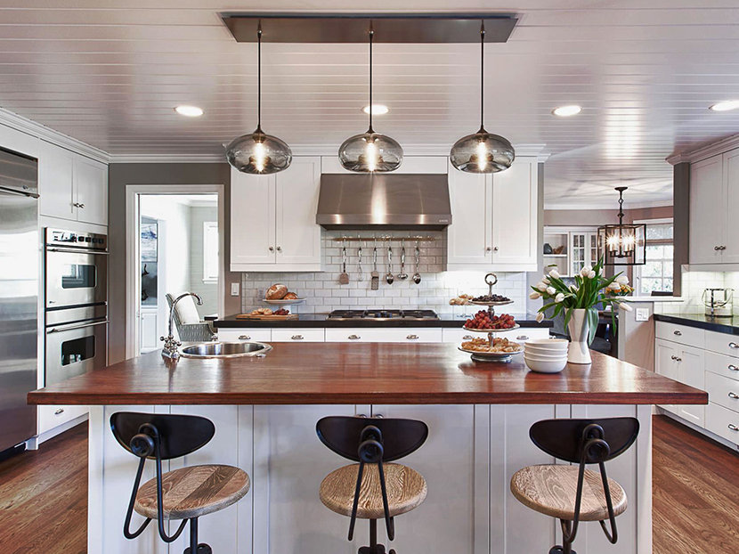View in gallery Contemporary kitchen with Darien Metal Pendants over the kitchen  island