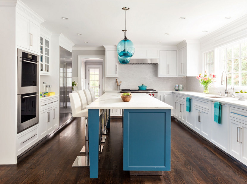 Bursts of blue add a pop of color to this westchester home condesa stamen pendant lights in hudson valley home aloadofball Choice Image
