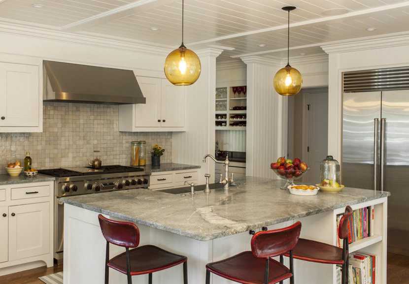 Contemporary Kitchen Island Lighting Shines in New England ...