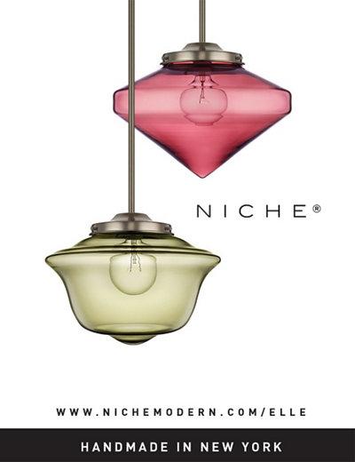 Art Deco inspired glass pendant lighting in Elle Decoration UK magazine