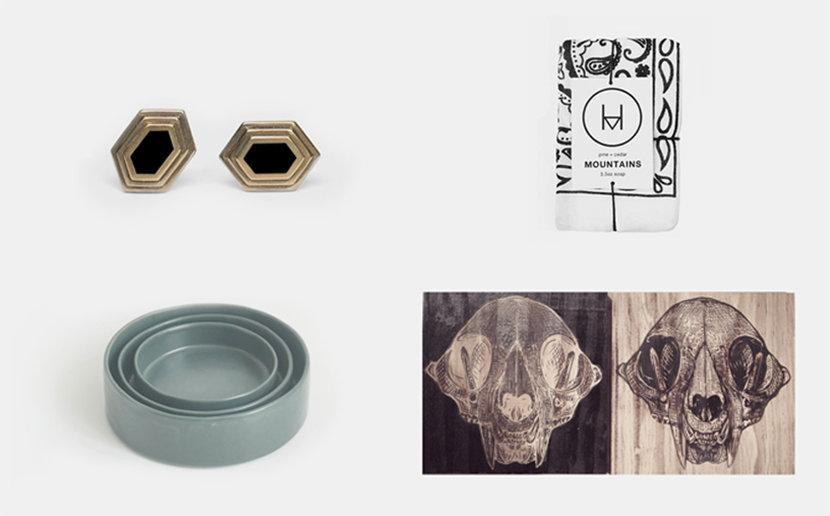 handmade earrings, soap, ceramics, woodcut prints