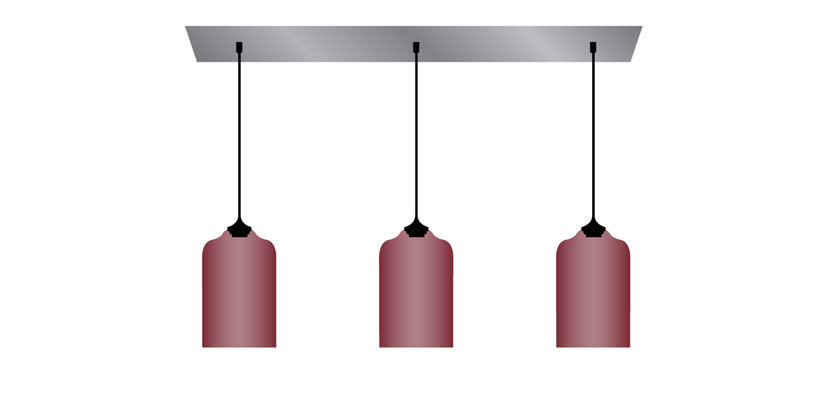 illustration of pendant lighting hanging with multi pendant linear canopy