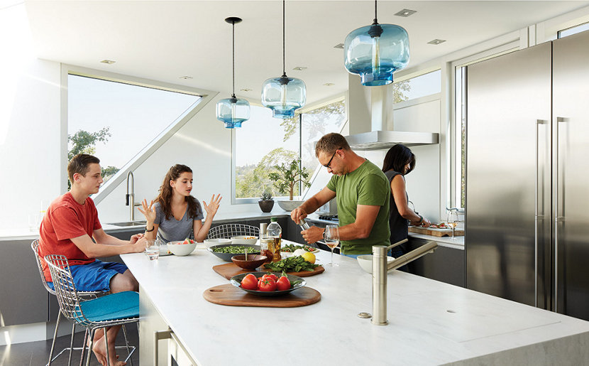 Blue Glass Kitchen Lighting Brightens Residential Interiors - Kitchen pendant lighting blue