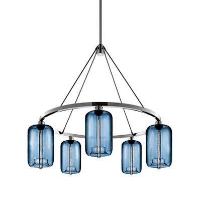 blue glass modern chandelier