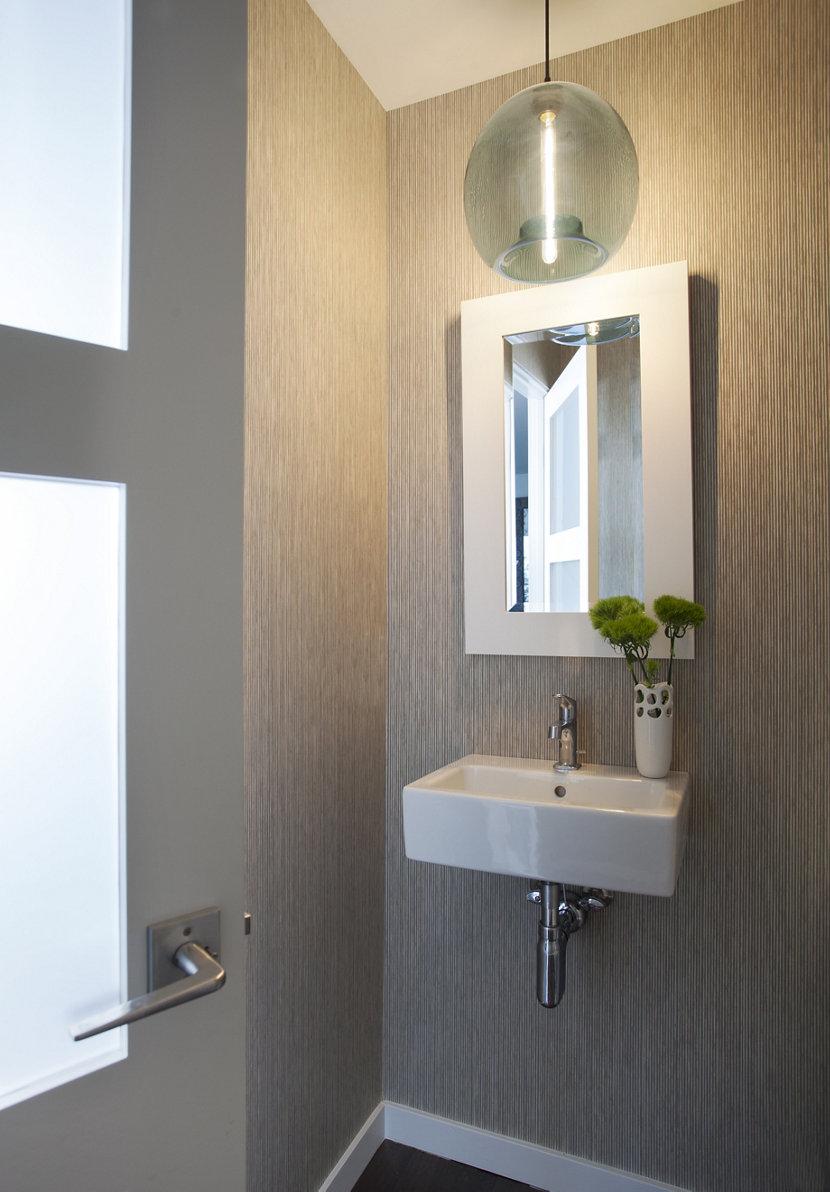 Niche modern pendant light brightens bathroom in manhattan beach home sapphire stamen niche pendant in powder room aloadofball Choice Image