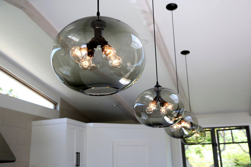 Modern pendant lighting in California home