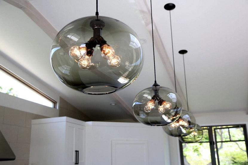 Modern pendant lighting in California home