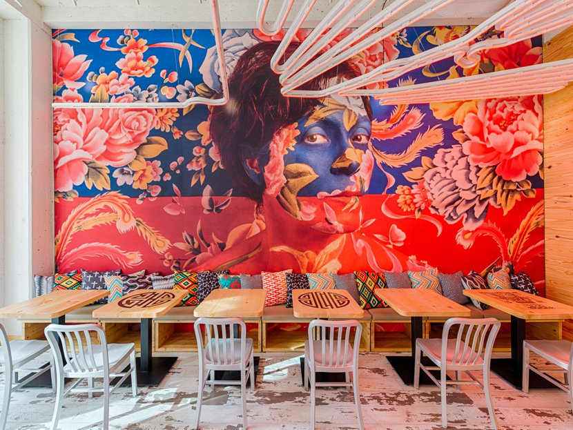 restaurant pendant lighting and mural in China Chilcano