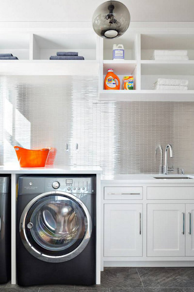 modern pendant lighting in laundry room
