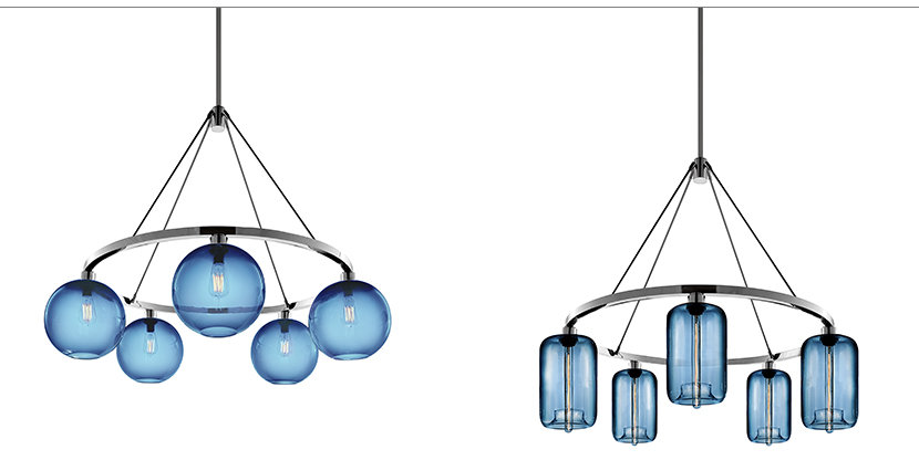 Sapphire glass chandeliers
