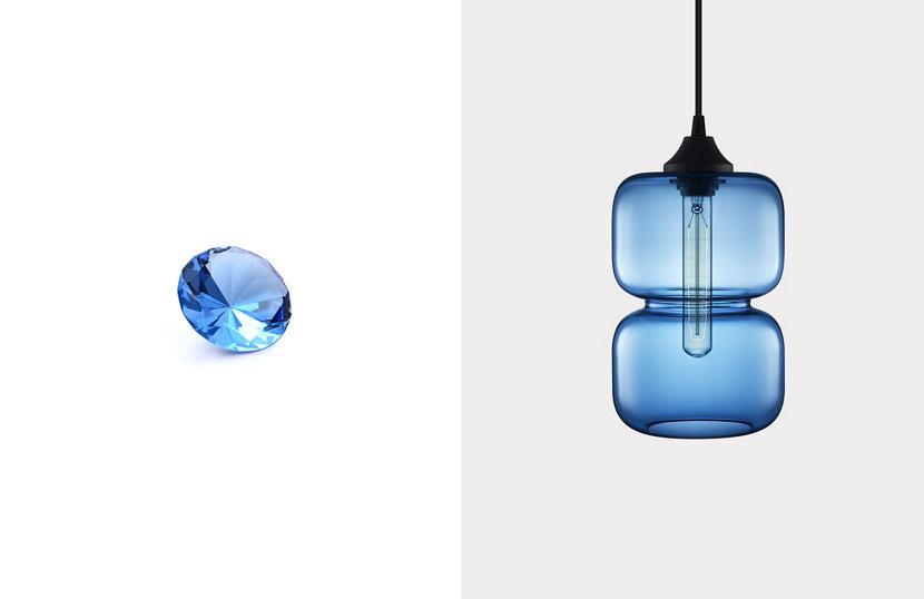 Pinch Modern Pendant in Sapphire Glass