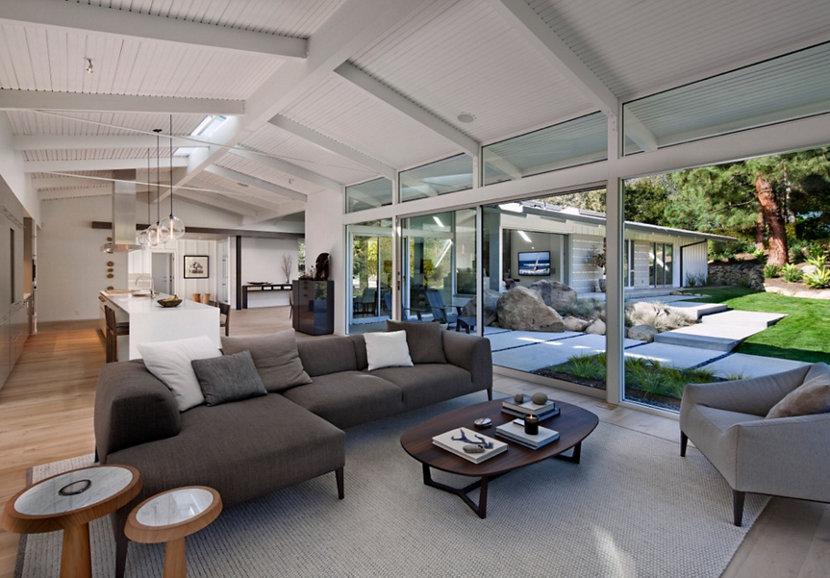 California ranch home living room interior
