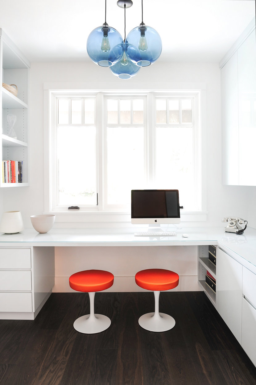 Handmade Blue Pendant Lights in Modern Office Space