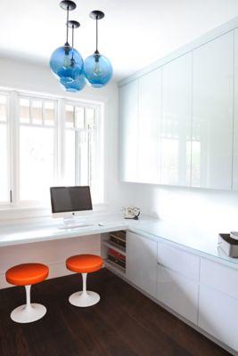Home Office Features Handmade Blue Pendant Lights