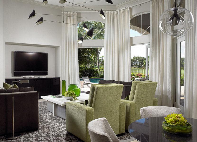 table pendant lighting and modern living room
