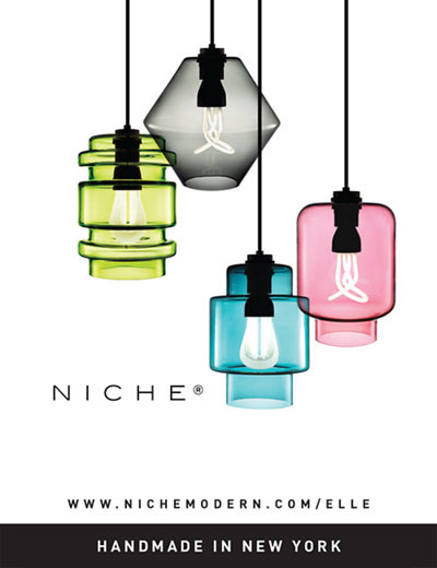 colorful glass pendant lighting in Elle Decoration UK magazine