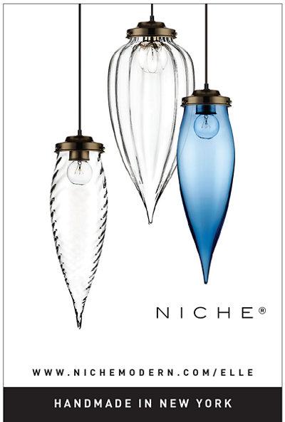 modern glass pendant lighting in Elle Decoration UK magazine