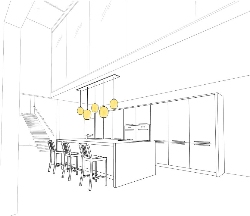 Hang Ellipse Pendants from a Linear Canopy