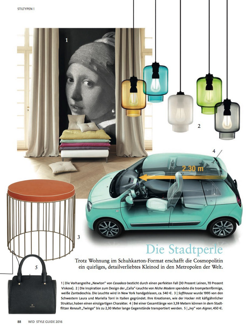 colorful glass pendant lighting in German style magazine