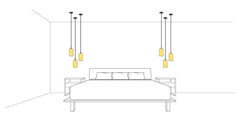 Helio Pendant Lights in Modern Bedroom