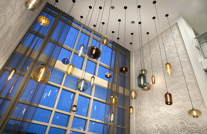 Colorful Display of Modern Hotel Lighting
