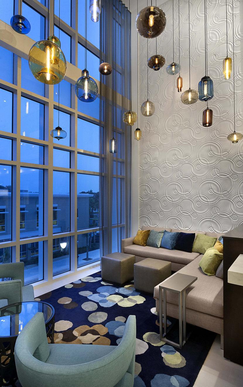 Colorful Modern Hotel Lighting in Hilton Lobby