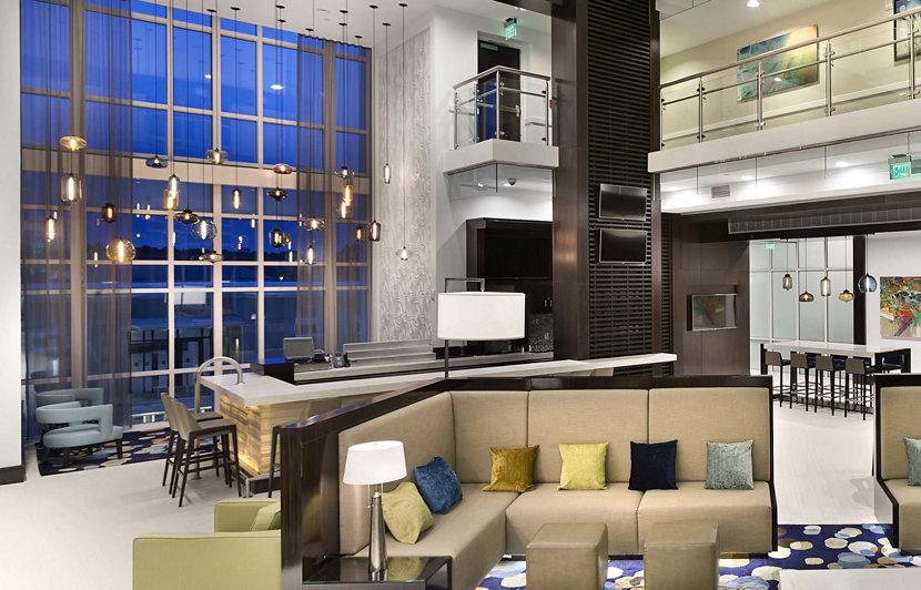 Modern Hotel Lighting in Hilton Lobby