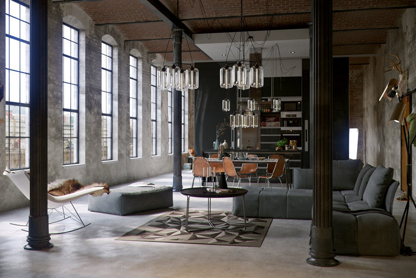 Industrial Loft industrial loft rendering includes classic niche modern pendant lights