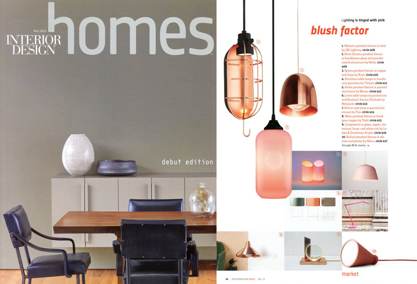 pink lighting in Interior Design Homes magazine