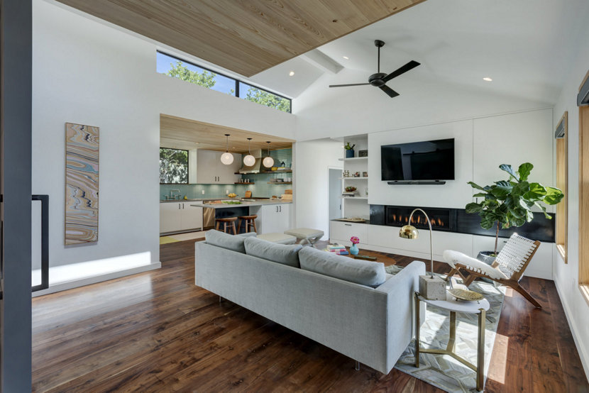 Opaline Glass Pendant Lights Add to Clean Kitchen Design