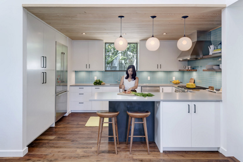 Opaline Glass Pendant Lights Complement Clean Kitchen Design