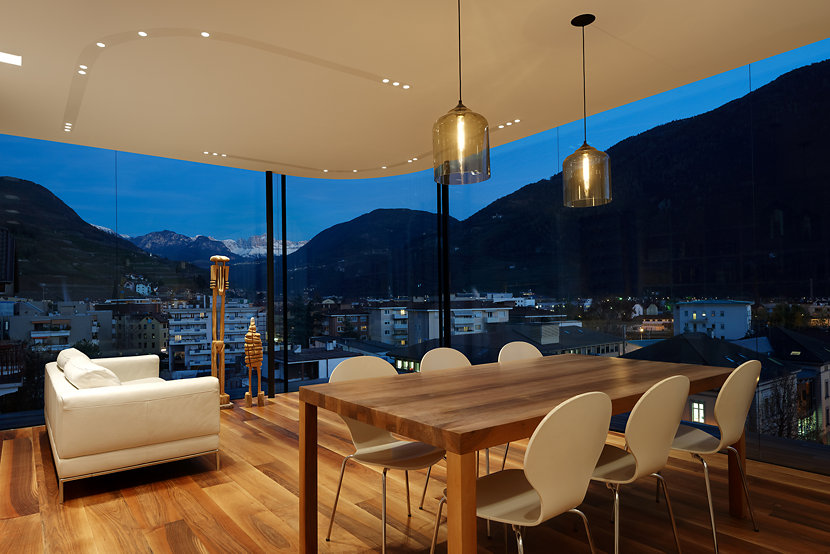 Dining Room Lighting Shines Inside Stunning Italian Alps Apartment