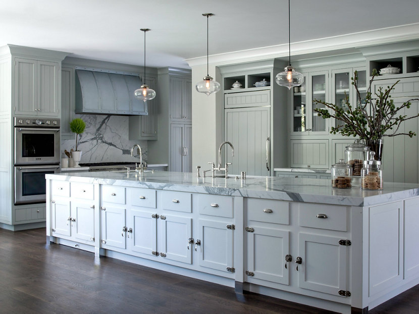 Modern Farmhouse Incorporates Contemporary Kitchen Island Pendant