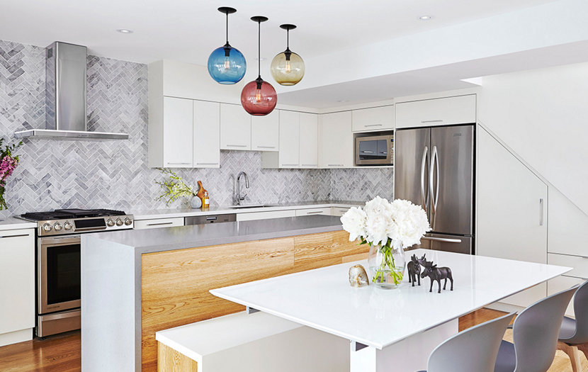These Jewel Tone Pendant Lighting Installations Will Leave You - Glass kitchen island pendants