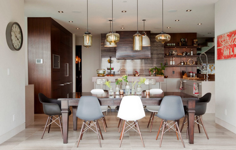 This multi-pendant lighting display dazzles a West Vancouver dining room