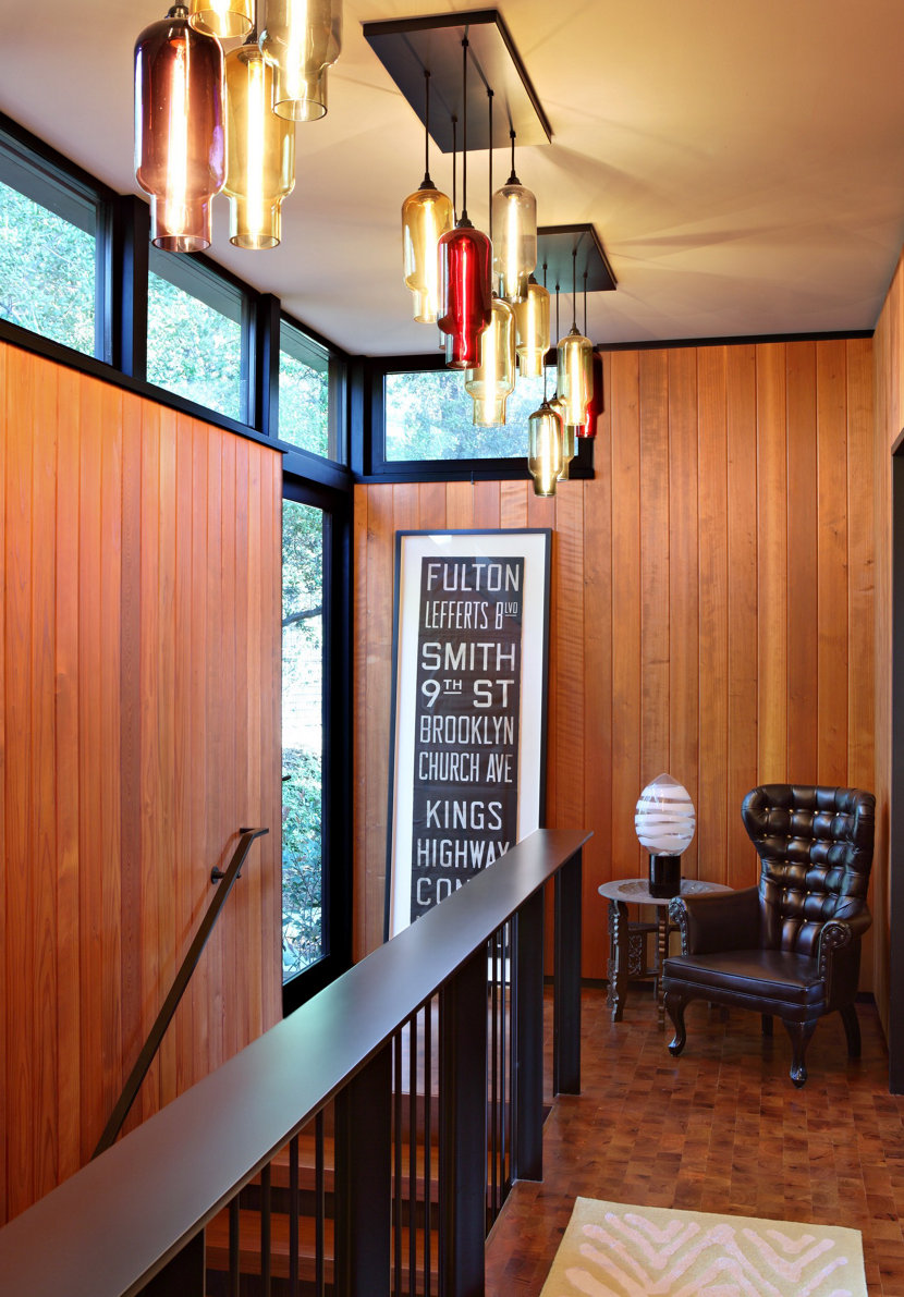 Mid-Century Modern Home Features Niche Stairway Lighting Clusters