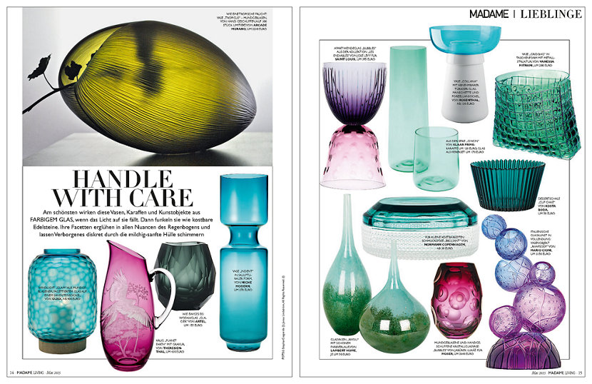 colored glass vessels in German lifestyle magazine