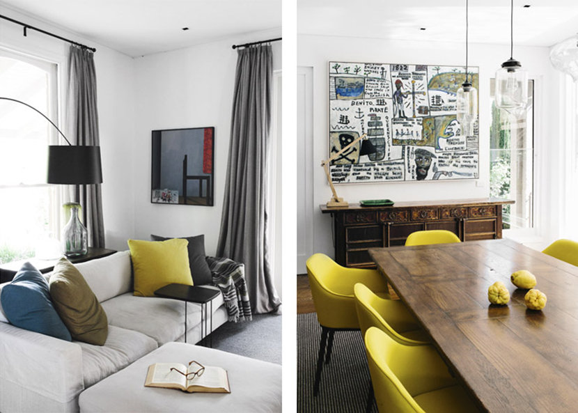 Yellow Accents Brighten Dining Room in Melbourne Home