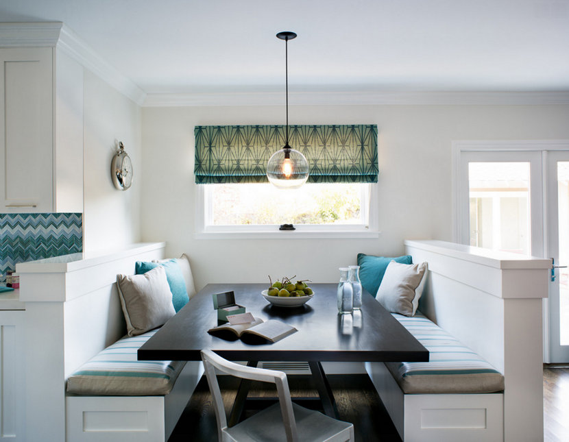 Niche Crystal Solitaire pendant light above kitchen nook.