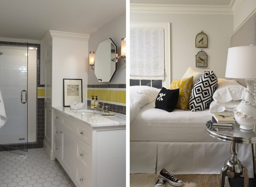 modern bathroom and bedroom with yellow accent color