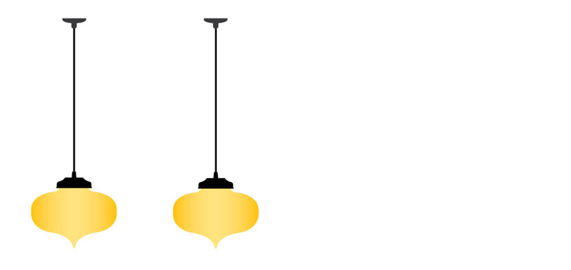 illustration of pendant lights hanging from multiple junction boxes