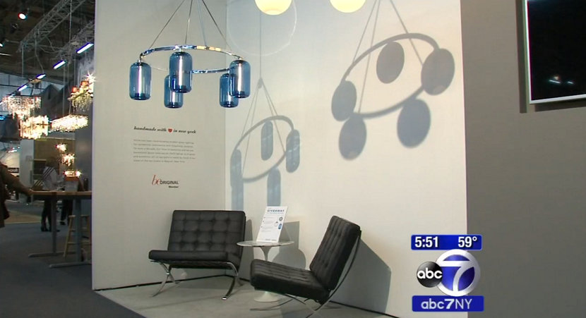 modern glass chandeliers at the architectural digest design show