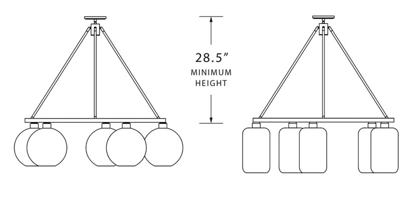 minimum height for modern glass chandelier