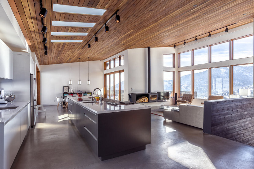 clear pendant lights brighten modern mountain home in park city utah - Modern Dining Room Pendant Lighting