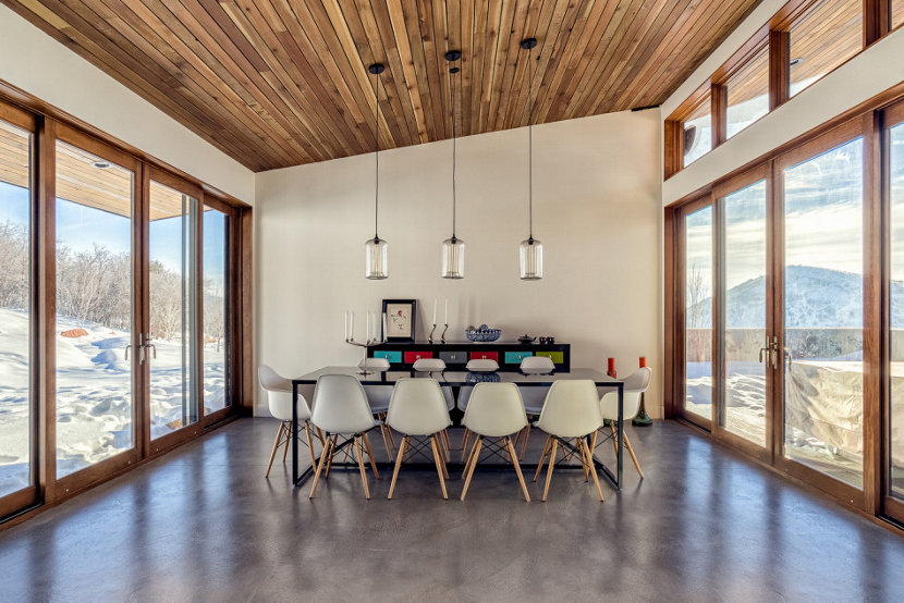 clear pendant lights brighten modern mountain home in park city utah