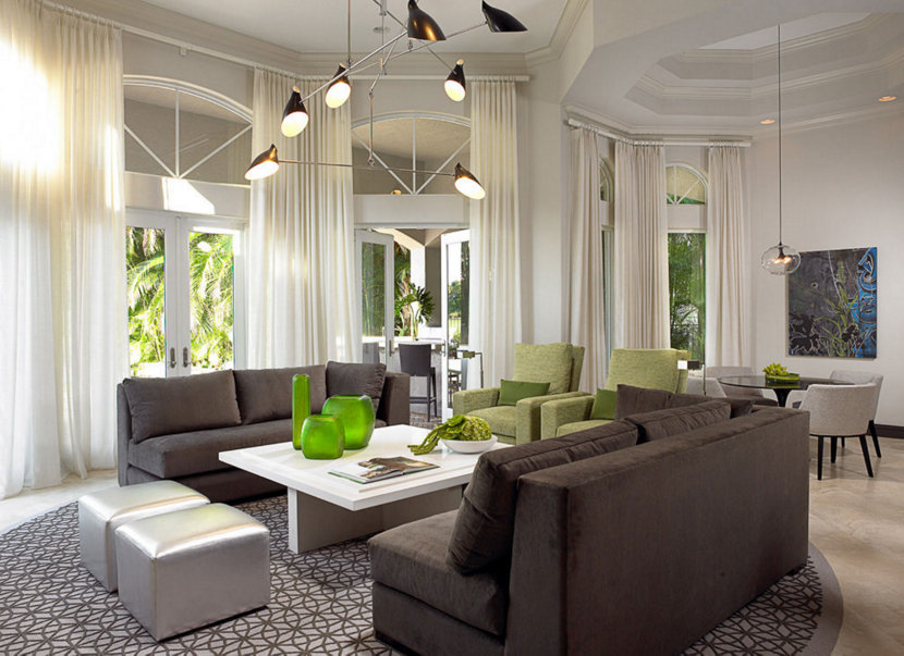 modern living room with green accents