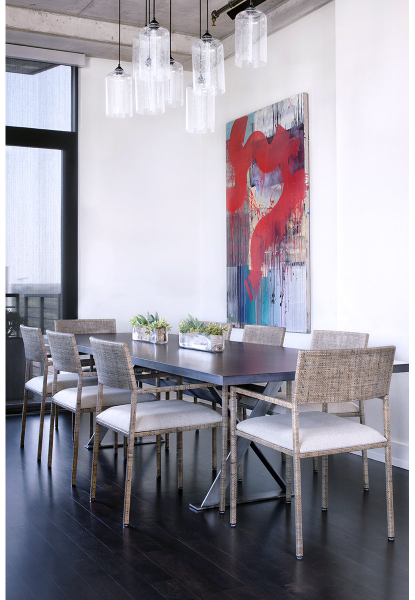 Dining room table lighting shimmers in sunny austin loft for W austin in room dining menu